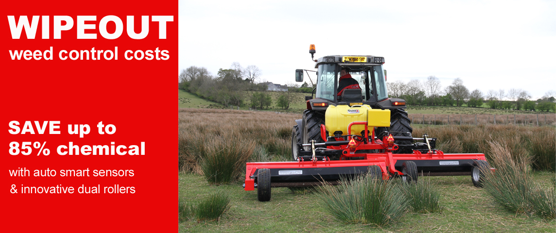 WIPEOUT weeds. Save up to 85% chemical, thanks to our innovative dual rollers & smart auto sensors