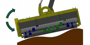 Angle float kit for verge mowing to follow ground contours