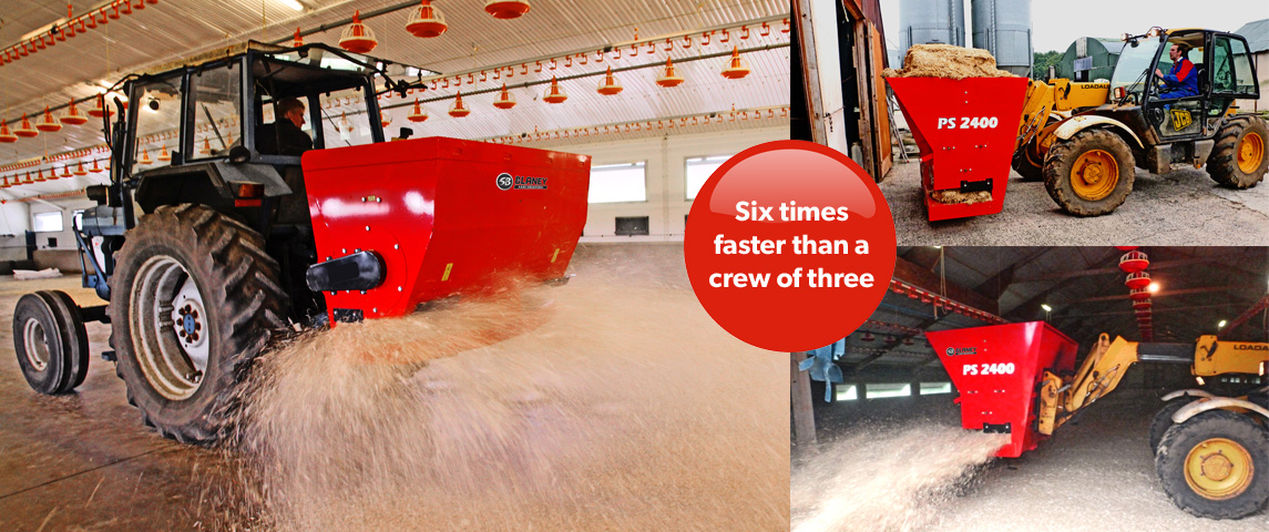 Bed a poultry house six times faster than a three man crew