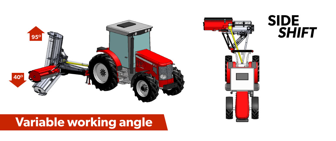 Variable working angle for mowing embankments. Side shift for mowing verges.