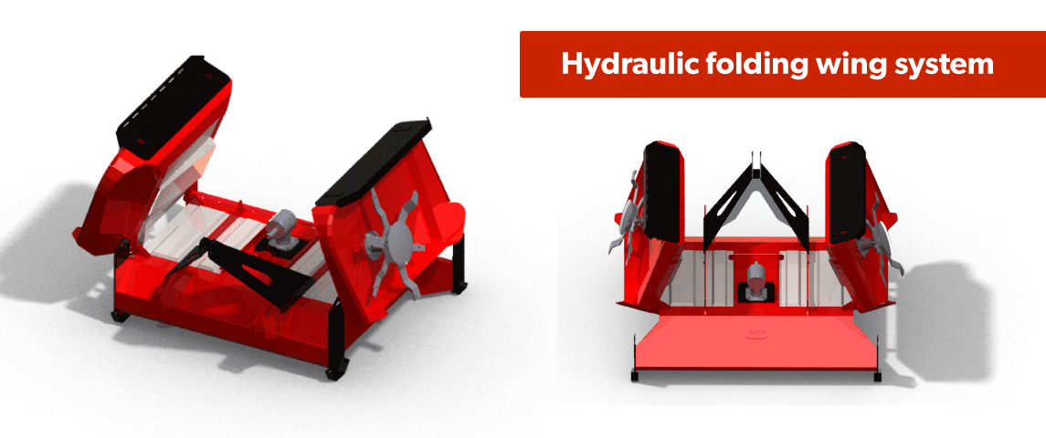 Hydraulic folding wing design and floating wings follow the contours of the ground up and down.
