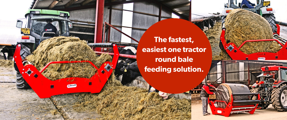 The Fastest, Easiest one tractor round bale feeding solution!!